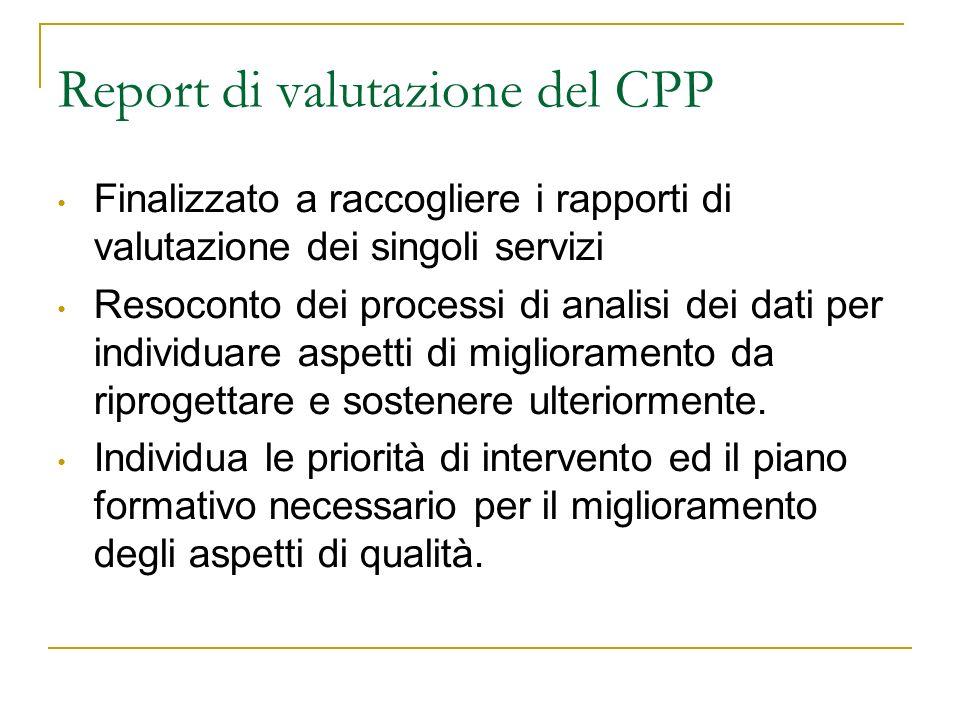 Report di valutazione del CPP Finalizzato a raccogliere i rapporti di valutazione dei singoli servizi Resoconto dei processi di analisi dei dati per i