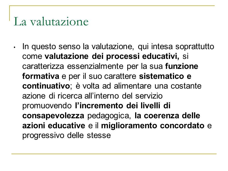 La valutazione In questo senso la valutazione, qui intesa soprattutto come valutazione dei processi educativi, si caratterizza essenzialmente per la s
