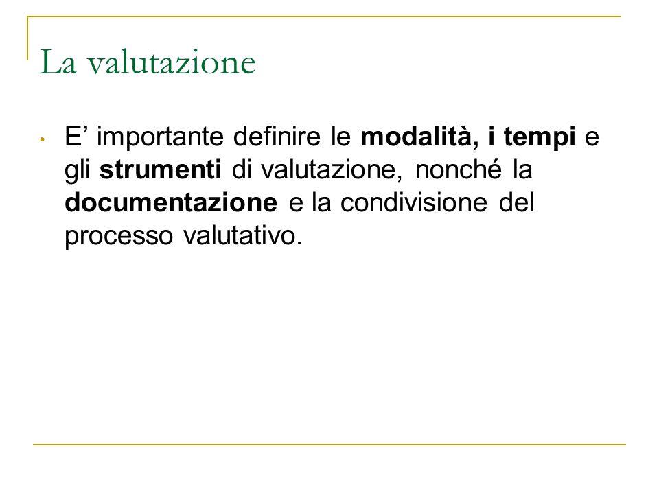 La valutazione E importante definire le modalità, i tempi e gli strumenti di valutazione, nonché la documentazione e la condivisione del processo valu