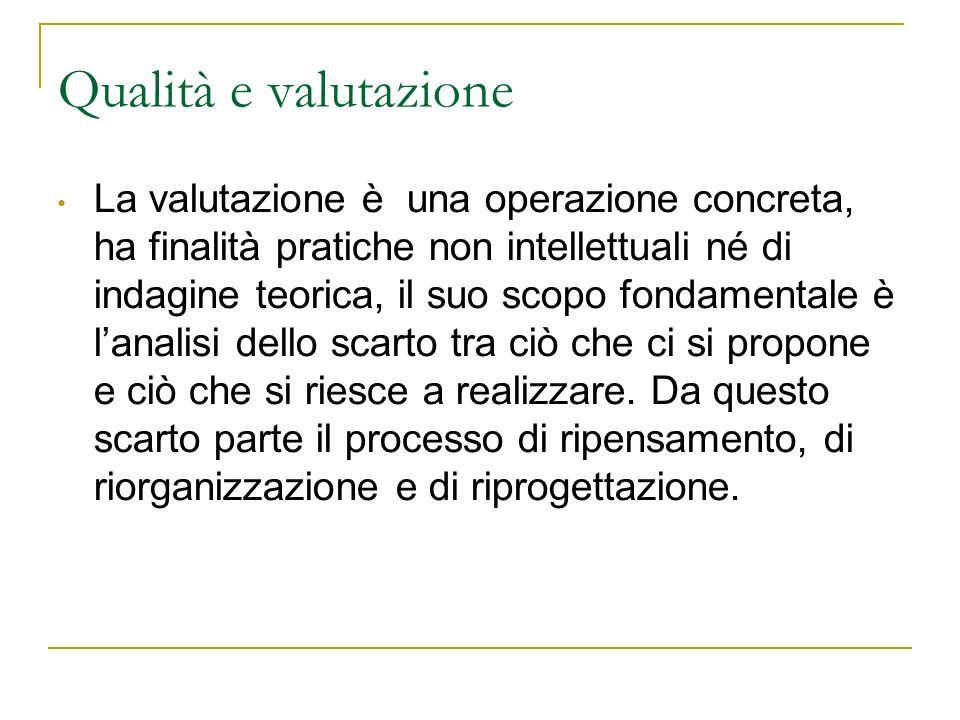 Qualità e valutazione La valutazione è una operazione concreta, ha finalità pratiche non intellettuali né di indagine teorica, il suo scopo fondamenta