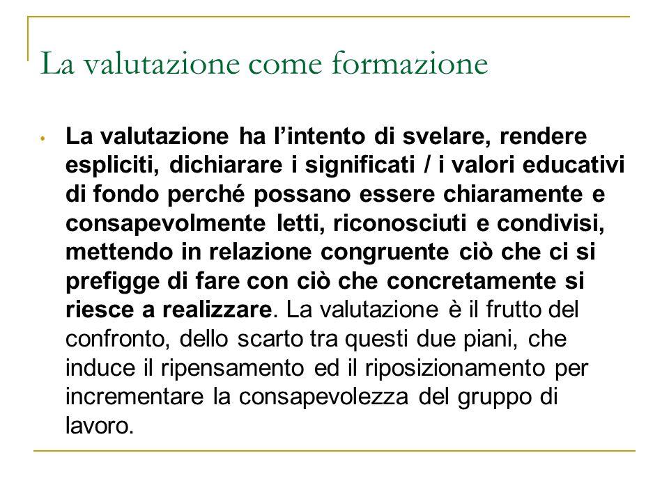 La valutazione come formazione La valutazione ha lintento di svelare, rendere espliciti, dichiarare i significati / i valori educativi di fondo perché