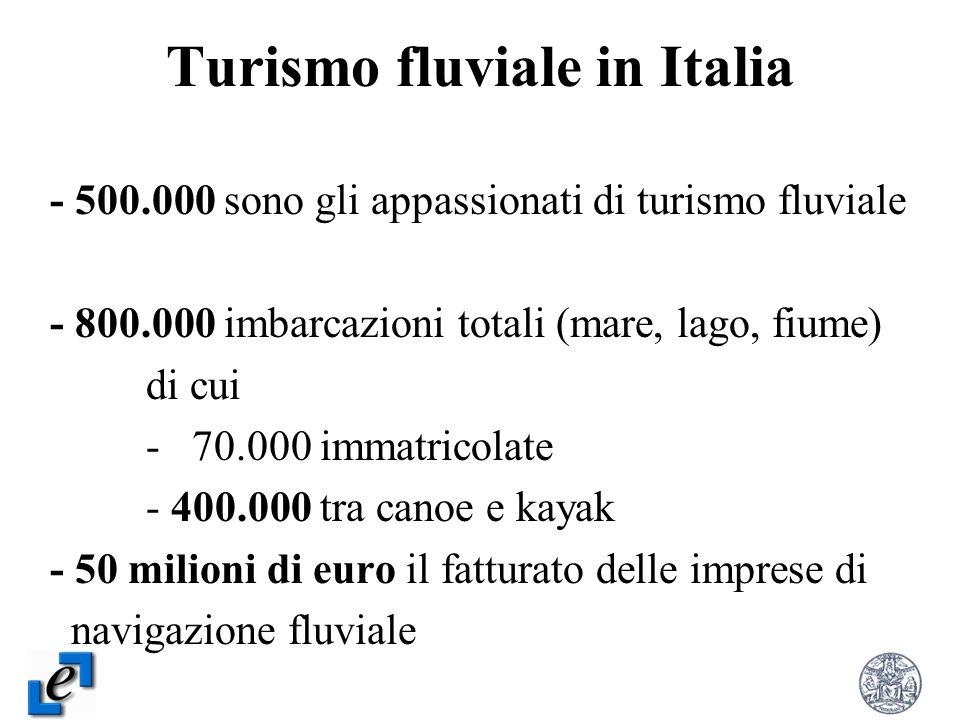 Turismo fluviale in Italia - 500.000 sono gli appassionati di turismo fluviale - 800.000 imbarcazioni totali (mare, lago, fiume) di cui - 70.000 immat