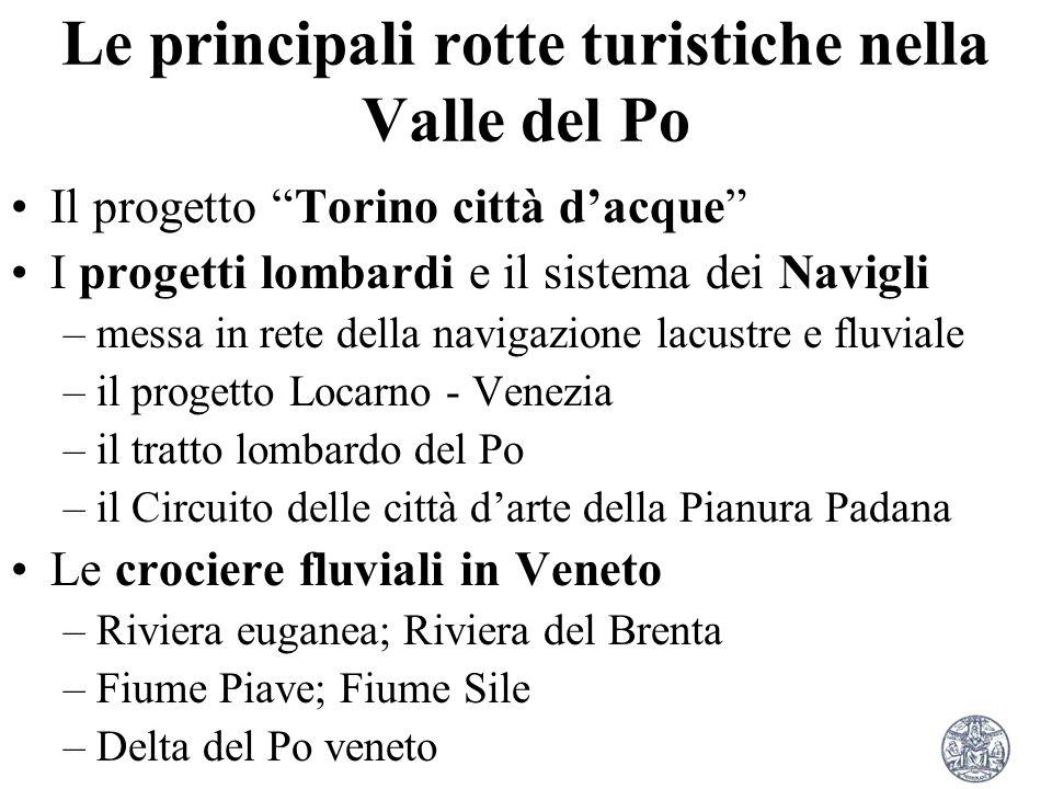 Le principali rotte turistiche nella Valle del Po Il progetto Torino città dacque I progetti lombardi e il sistema dei Navigli –messa in rete della na
