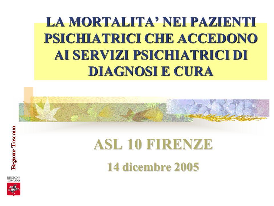 LA MORTALITA NEI PAZIENTI PSICHIATRICI CHE ACCEDONO AI SERVIZI PSICHIATRICI DI DIAGNOSI E CURA ASL 10 FIRENZE 14 dicembre 2005