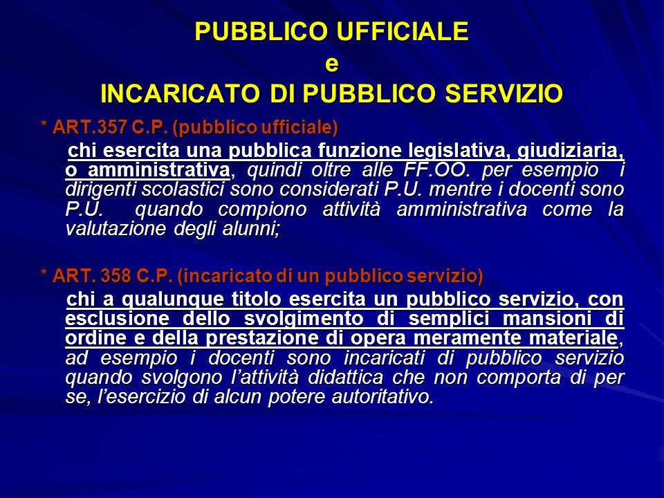 PUBBLICO UFFICIALE e INCARICATO DI PUBBLICO SERVIZIO * ART.357 C.P.