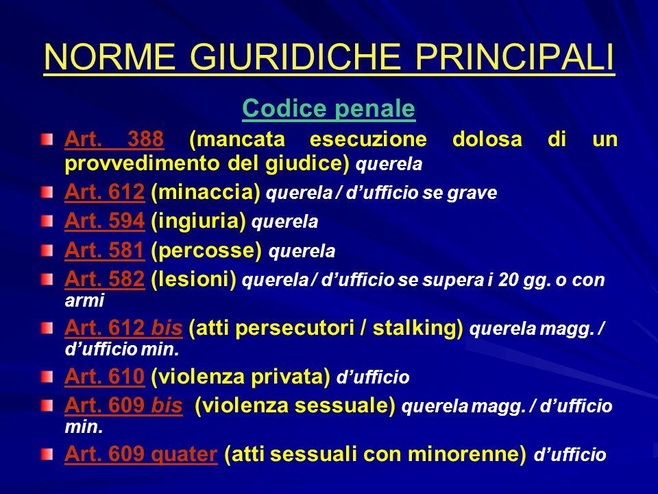 NORME GIURIDICHE PRINCIPALI Codice penale Art.