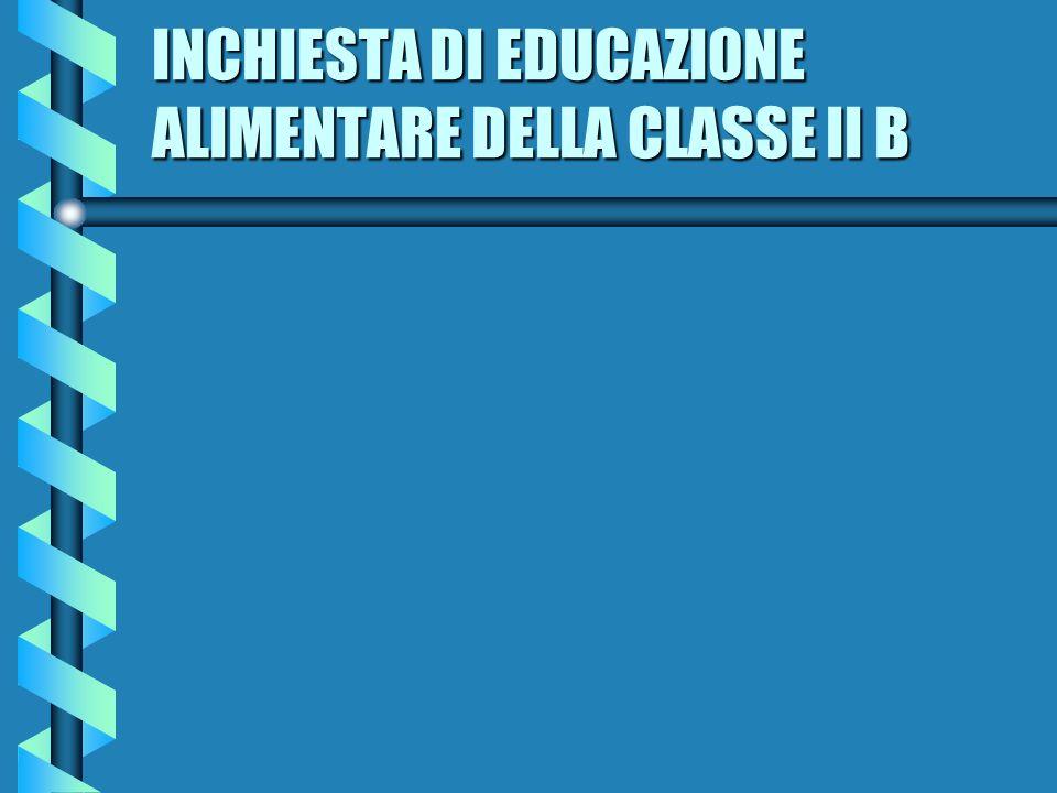 INCHIESTA DI EDUCAZIONE ALIMENTARE DELLA CLASSE II B