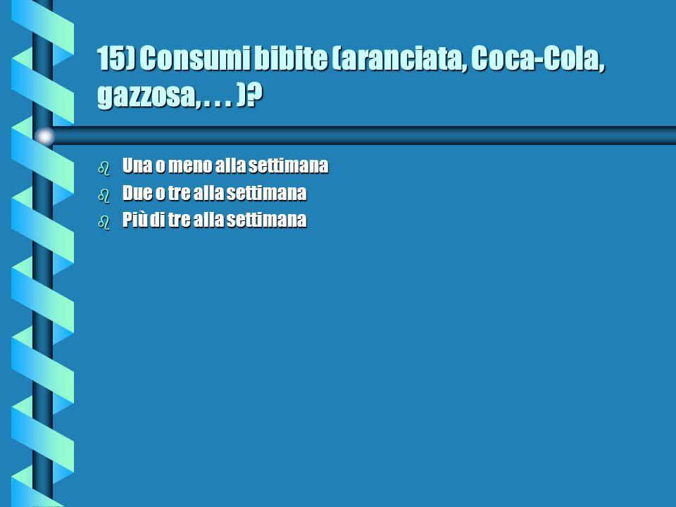 15) Consumi bibite (aranciata, Coca-Cola, gazzosa,...