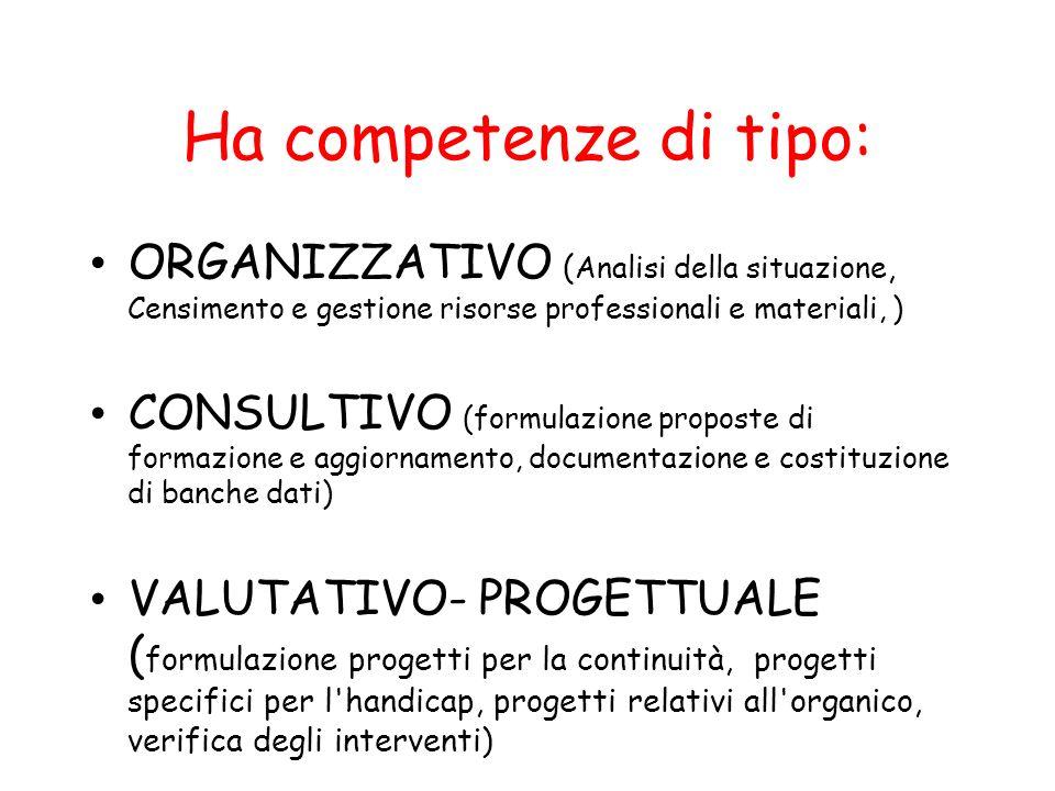 Ha competenze di tipo: ORGANIZZATIVO ( Analisi della situazione, Censimento e gestione risorse professionali e materiali, ) CONSULTIVO (formulazione p
