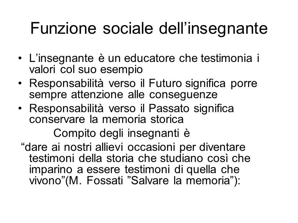Funzione sociale dellinsegnante Linsegnante è un educatore che testimonia i valori col suo esempio Responsabilità verso il Futuro significa porre semp
