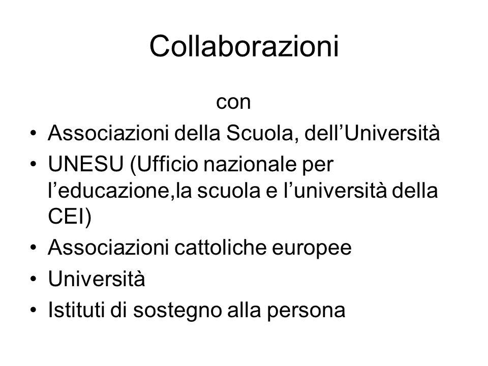 Collaborazioni con Associazioni della Scuola, dellUniversità UNESU (Ufficio nazionale per leducazione,la scuola e luniversità della CEI) Associazioni