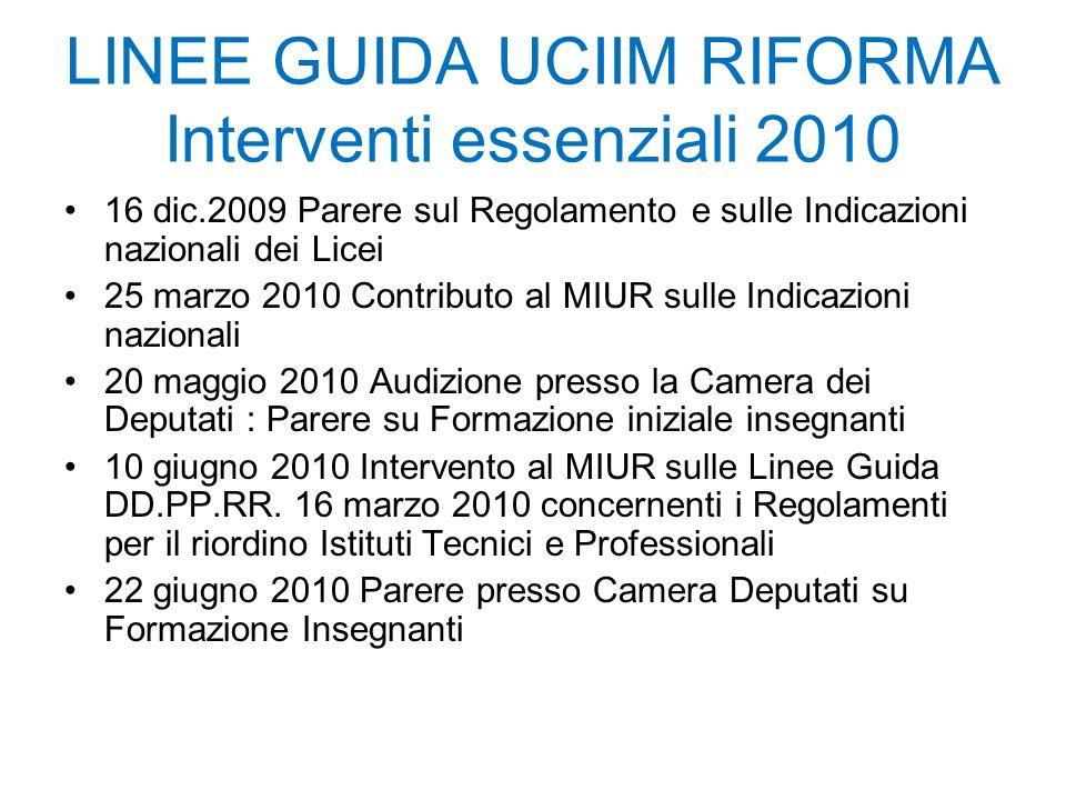 16 dic.2009 Parere sul Regolamento e sulle Indicazioni nazionali dei Licei 25 marzo 2010 Contributo al MIUR sulle Indicazioni nazionali 20 maggio 2010