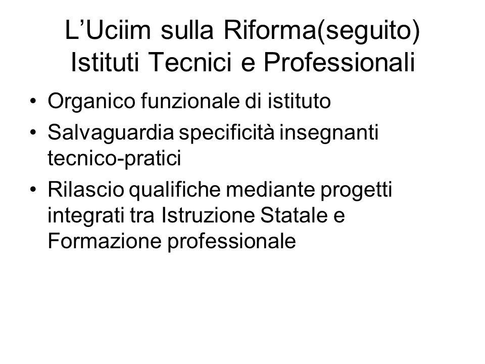 LUciim sulla Riforma(seguito) Istituti Tecnici e Professionali Organico funzionale di istituto Salvaguardia specificità insegnanti tecnico-pratici Ril