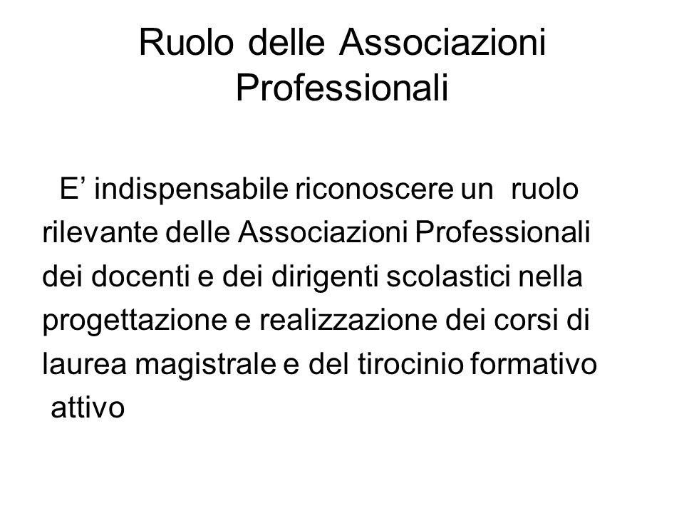 Ruolo delle Associazioni Professionali E indispensabile riconoscere un ruolo rilevante delle Associazioni Professionali dei docenti e dei dirigenti sc