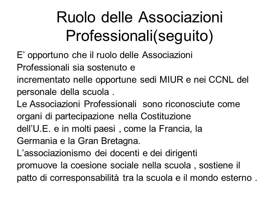 Ruolo delle Associazioni Professionali(seguito) E opportuno che il ruolo delle Associazioni Professionali sia sostenuto e incrementato nelle opportune