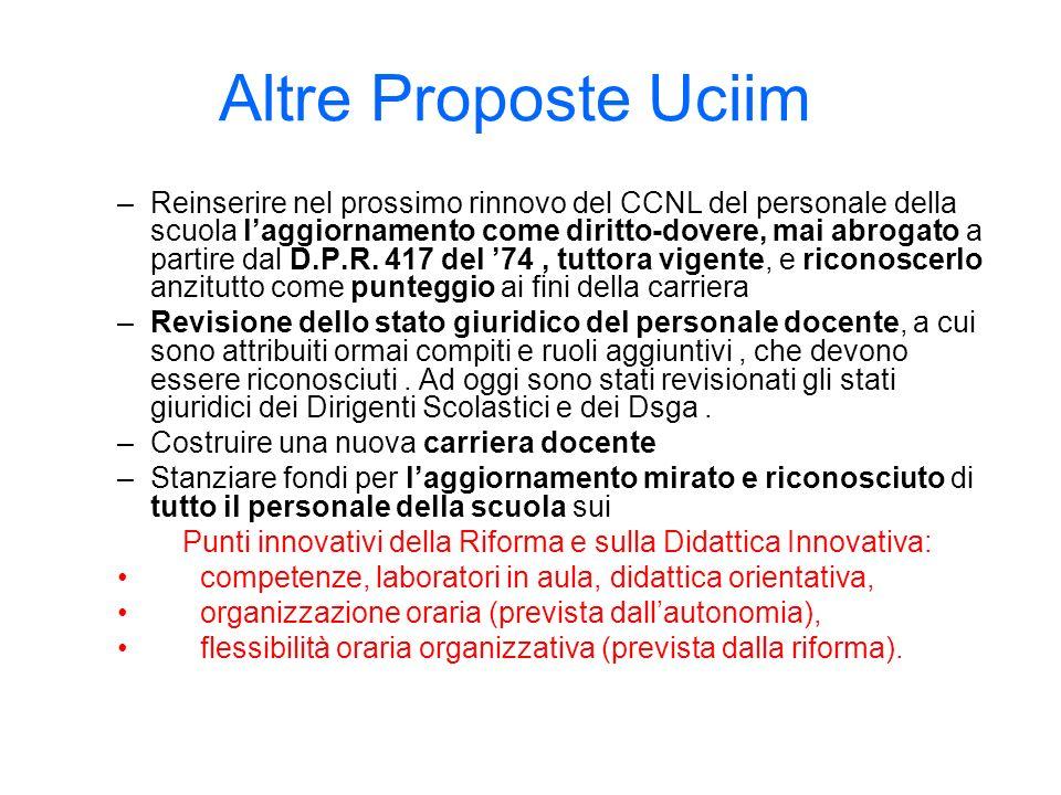 Altre Proposte Uciim –Reinserire nel prossimo rinnovo del CCNL del personale della scuola laggiornamento come diritto-dovere, mai abrogato a partire d