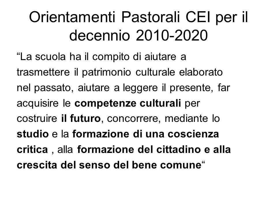 Orientamenti Pastorali CEI per il decennio 2010-2020 La scuola ha il compito di aiutare a trasmettere il patrimonio culturale elaborato nel passato, a