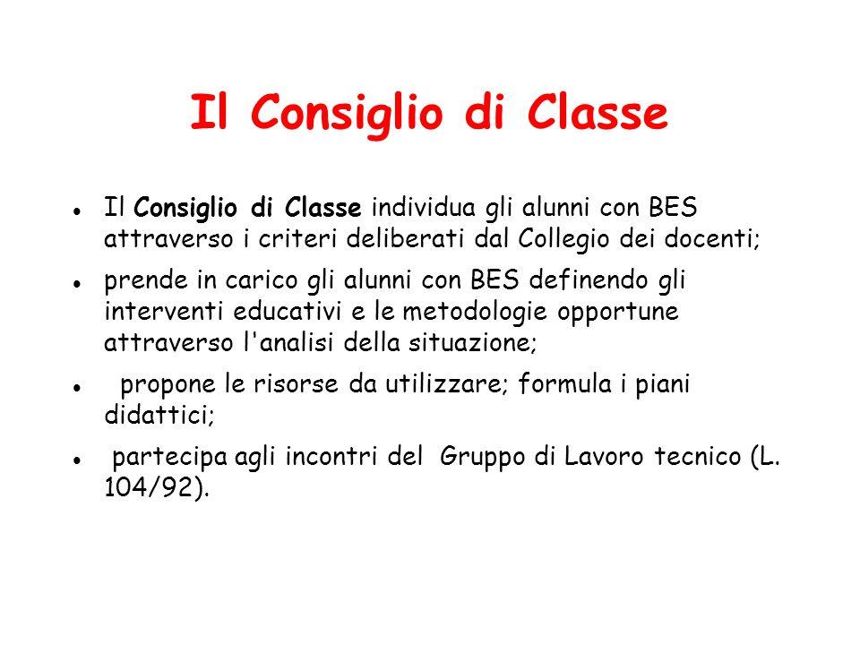 Il Consiglio di Classe Il Consiglio di Classe individua gli alunni con BES attraverso i criteri deliberati dal Collegio dei docenti; prende in carico