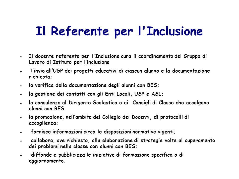 Il Referente per l'Inclusione Il docente referente per l'Inclusione cura il coordinamento del Gruppo di Lavoro di Istituto per linclusione linvio allU