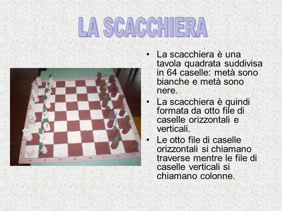 La scacchiera è una tavola quadrata suddivisa in 64 caselle: metà sono bianche e metà sono nere. La scacchiera è quindi formata da otto file di casell