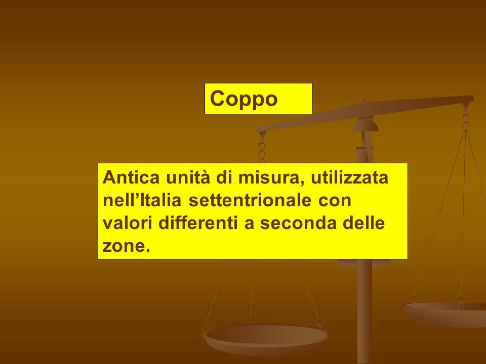 Coppo Antica unità di misura, utilizzata nellItalia settentrionale con valori differenti a seconda delle zone.