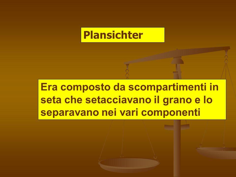 Plansichter Era composto da scompartimenti in seta che setacciavano il grano e lo separavano nei vari componenti
