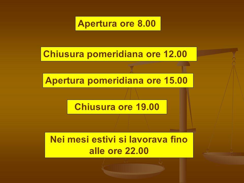 Apertura ore 8.00 Chiusura pomeridiana ore 12.00 Apertura pomeridiana ore 15.00 Chiusura ore 19.00 Nei mesi estivi si lavorava fino alle ore 22.00
