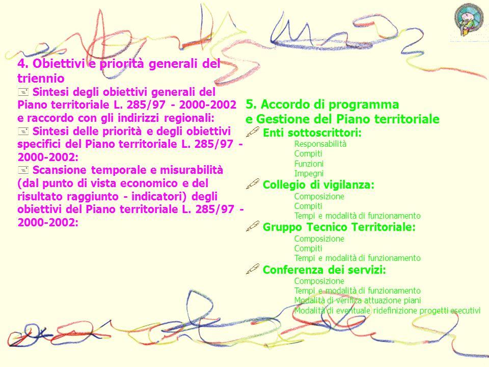 4. Obiettivi e priorità generali del triennio Sintesi degli obiettivi generali del Piano territoriale L. 285/97 - 2000-2002 e raccordo con gli indiriz
