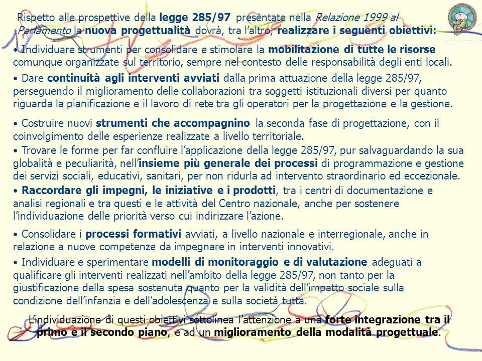 Rispetto alle prospettive della legge 285/97 presentate nella Relazione 1999 al Parlamento la nuova progettualità dovrà, tra laltro, realizzare i segu