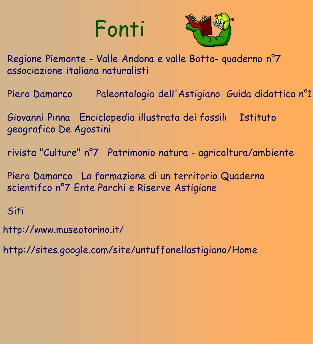 Fonti Regione Piemonte - Valle Andona e valle Botto- quaderno n°7 associazione italiana naturalisti Piero Damarco Paleontologia dell'Astigiano Guida d