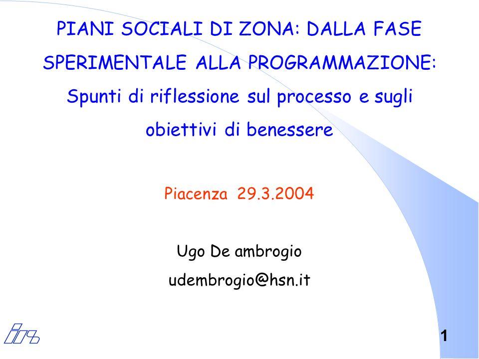 1 PIANI SOCIALI DI ZONA: DALLA FASE SPERIMENTALE ALLA PROGRAMMAZIONE: Spunti di riflessione sul processo e sugli obiettivi di benessere Piacenza 29.3.