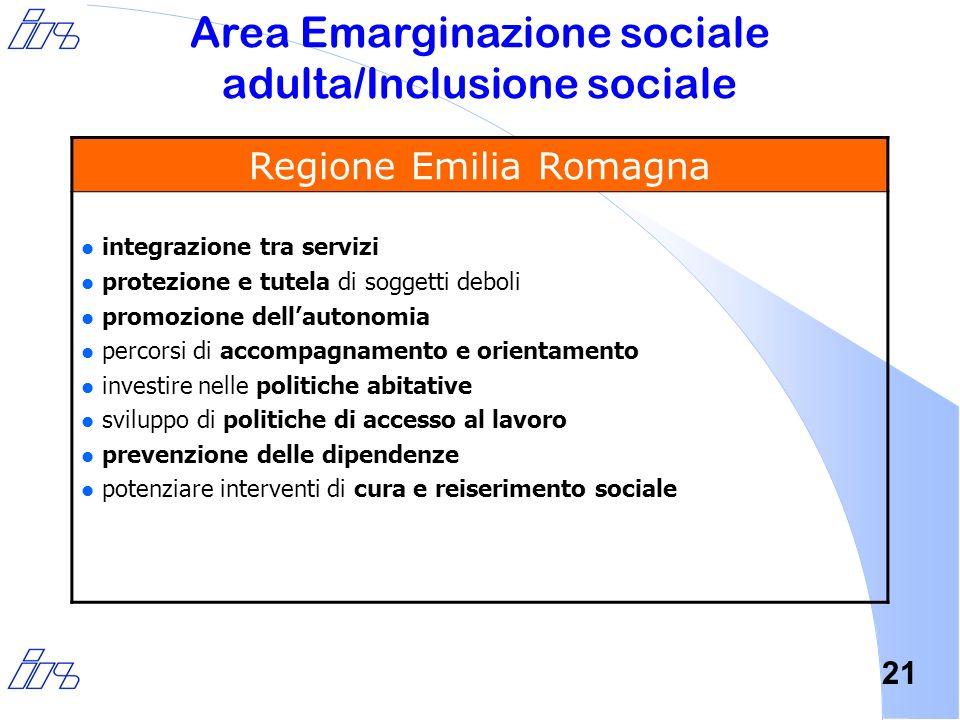 21 Area Emarginazione sociale adulta/Inclusione sociale Regione Emilia Romagna l integrazione tra servizi l protezione e tutela di soggetti deboli l p