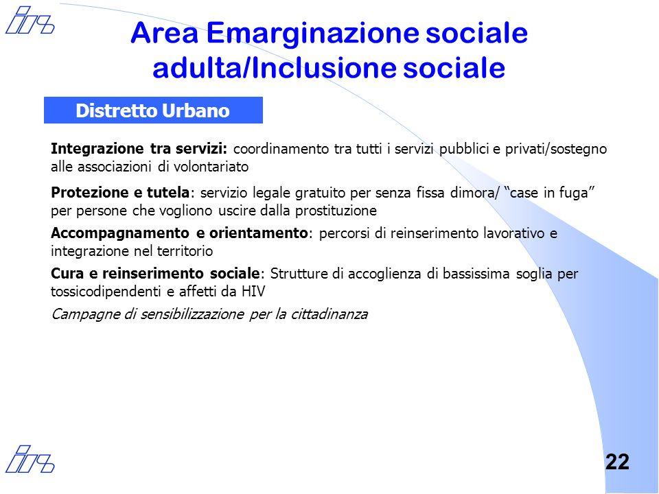 22 Integrazione tra servizi: coordinamento tra tutti i servizi pubblici e privati/sostegno alle associazioni di volontariato Protezione e tutela: serv