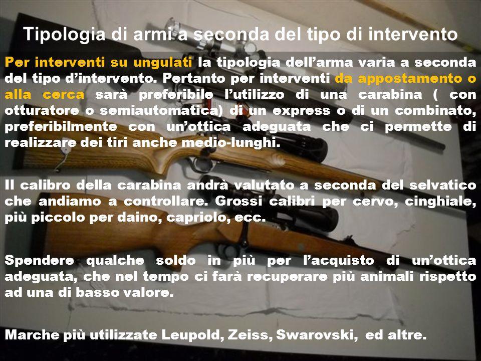 Tipologia di armi a seconda del tipo di intervento Per interventi su ungulati la tipologia dellarma varia a seconda del tipo dintervento.
