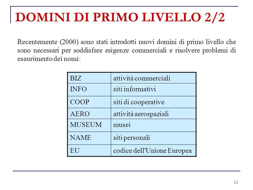 12 DOMINI DI PRIMO LIVELLO 2/2 Recentemente (2000) sono stati introdotti nuovi domini di primo livello che sono necessari per soddisfare esigenze comm