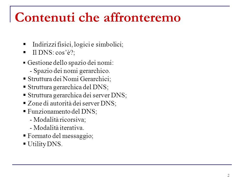 2 Contenuti che affronteremo Indirizzi fisici, logici e simbolici; Il DNS: cosè?; Gestione dello spazio dei nomi: - Spazio dei nomi gerarchico. Strutt