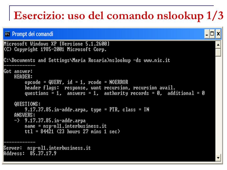 34 Esercizio: uso del comando nslookup 1/3