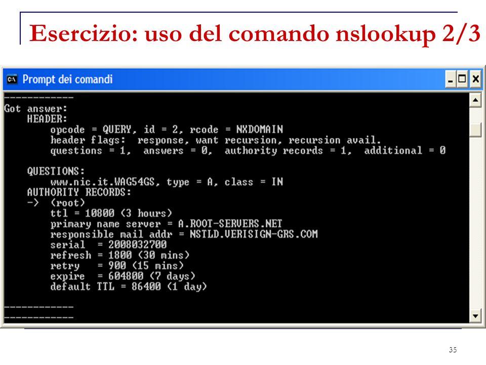35 Esercizio: uso del comando nslookup 2/3