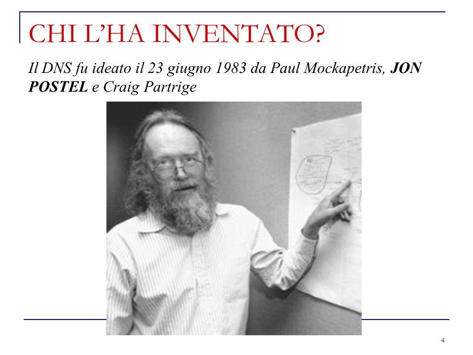 4 CHI LHA INVENTATO? Il DNS fu ideato il 23 giugno 1983 da Paul Mockapetris, JON POSTEL e Craig Partrige