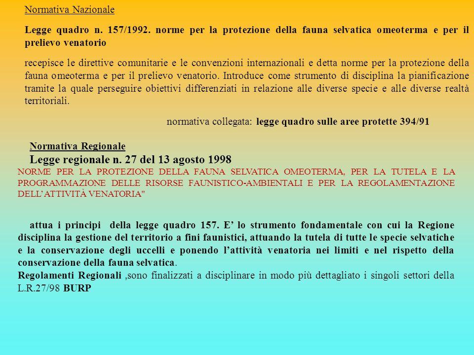 Normativa Nazionale Legge quadro n. 157/1992. norme per la protezione della fauna selvatica omeoterma e per il prelievo venatorio recepisce le diretti