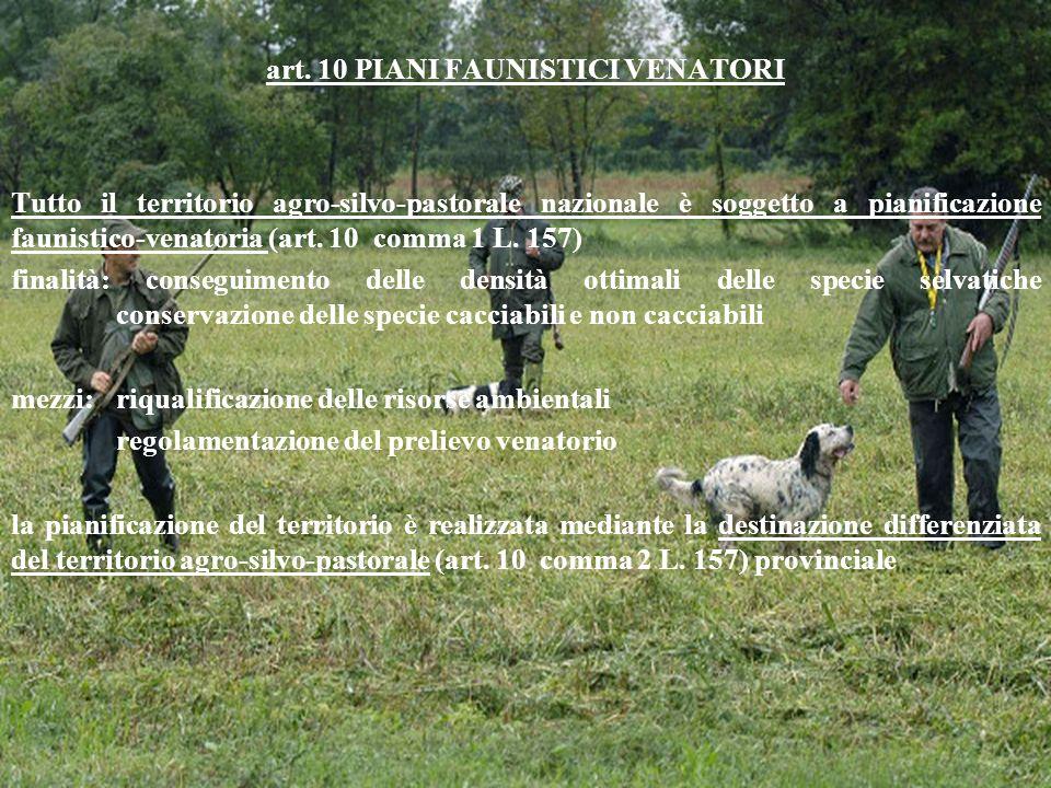 art. 10 PIANI FAUNISTICI VENATORI Tutto il territorio agro-silvo-pastorale nazionale è soggetto a pianificazione faunistico-venatoria (art. 10 comma 1