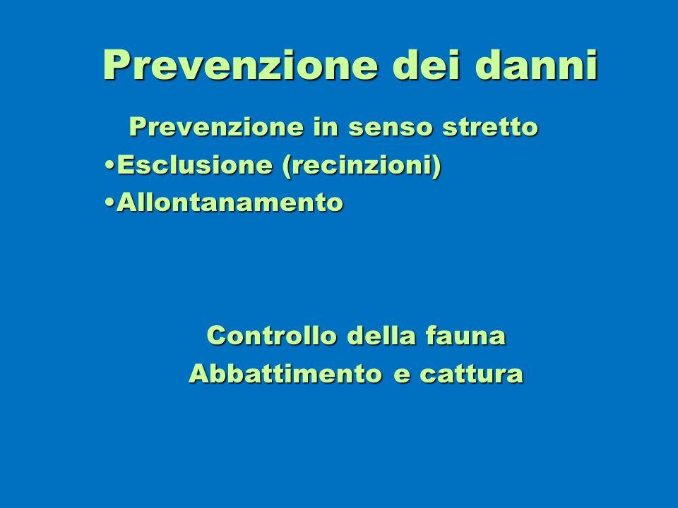 Prevenzione dei danni Prevenzione in senso stretto Esclusione (recinzioni)Esclusione (recinzioni) AllontanamentoAllontanamento Controllo della fauna A
