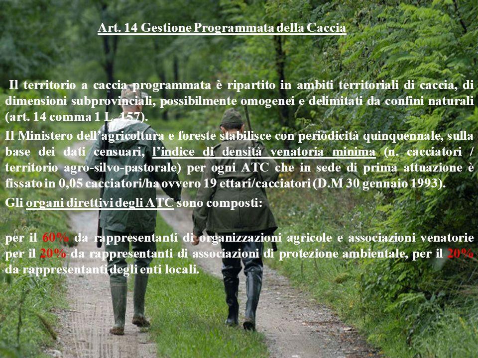 Art. 14 Gestione Programmata della Caccia Il territorio a caccia programmata è ripartito in ambiti territoriali di caccia, di dimensioni subprovincial