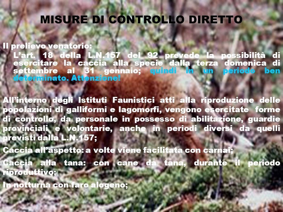 MISURE DI CONTROLLO DIRETTO Il prelievo venatorio: Lart. 18 della L.N.157 del 92 prevede la possibilità di esercitare la caccia alla specie dalla terz