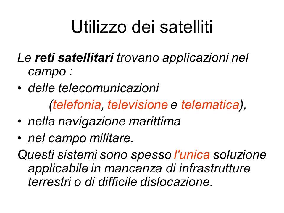 Utilizzo dei satelliti Le reti satellitari trovano applicazioni nel campo : delle telecomunicazioni (telefonia, televisione e telematica), nella navig