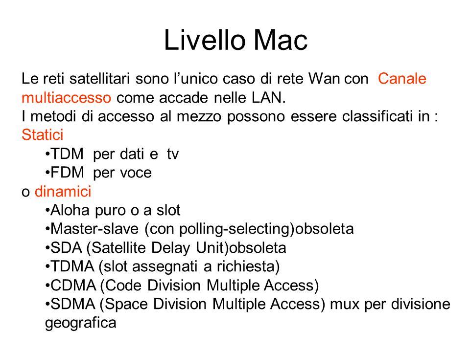 Livello Mac Le reti satellitari sono lunico caso di rete Wan con Canale multiaccesso come accade nelle LAN. I metodi di accesso al mezzo possono esser
