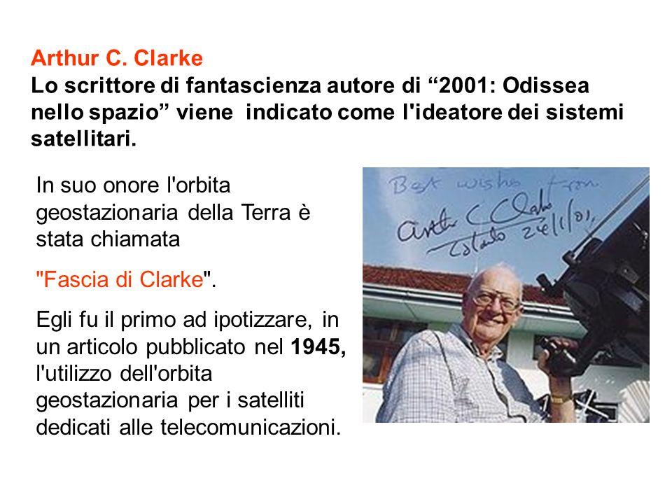 Arthur C. Clarke Lo scrittore di fantascienza autore di 2001: Odissea nello spazio viene indicato come l'ideatore dei sistemi satellitari. In suo onor