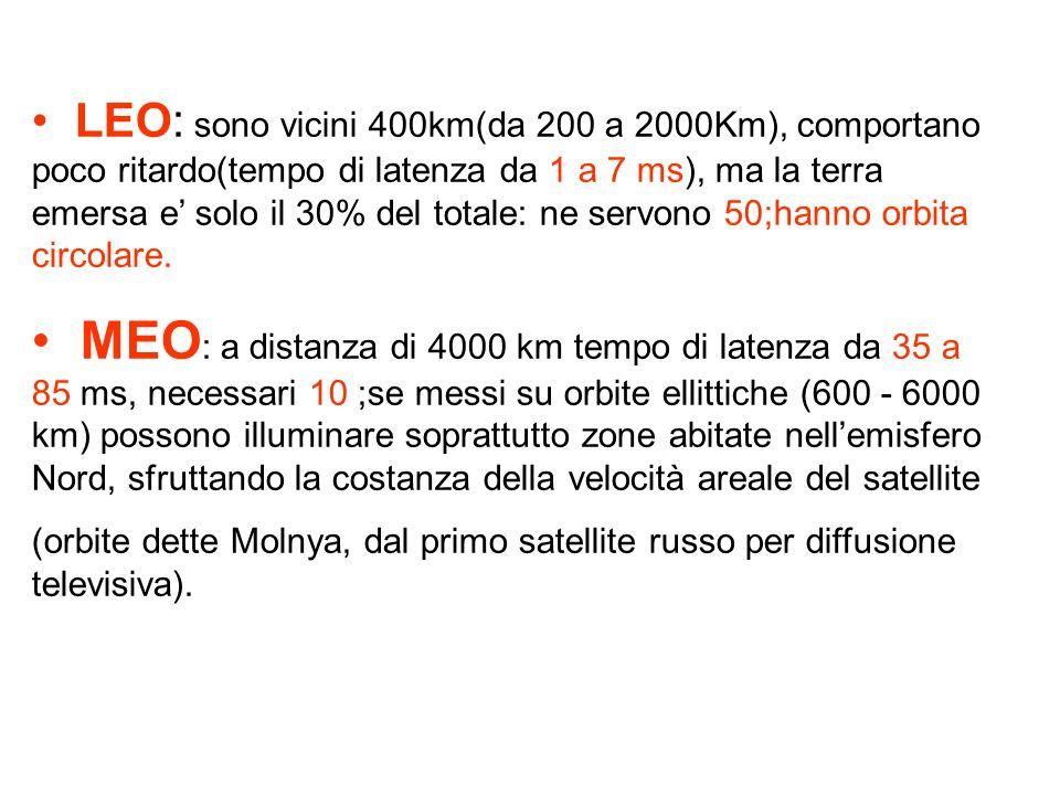 LEO: sono vicini 400km(da 200 a 2000Km), comportano poco ritardo(tempo di latenza da 1 a 7 ms), ma la terra emersa e solo il 30% del totale: ne servon