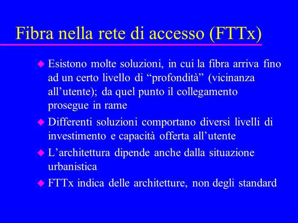 Fibra nella rete di accesso (FTTx) u Esistono molte soluzioni, in cui la fibra arriva fino ad un certo livello di profondità (vicinanza allutente); da