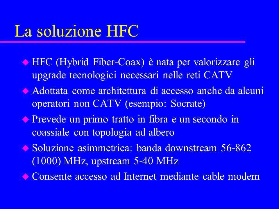 La soluzione HFC u HFC (Hybrid Fiber-Coax) è nata per valorizzare gli upgrade tecnologici necessari nelle reti CATV u Adottata come architettura di ac